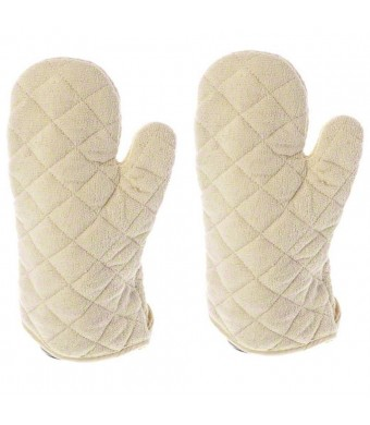13 Inch Terry Cloth Oven Mitt Heat Resistant to 600 Degrees F