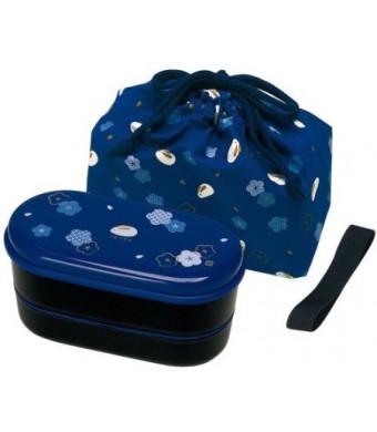 Skater KSX2-Blue3680 Japanese 2-Tier Bento Lunch Box with Belt, Bag Chopsticks