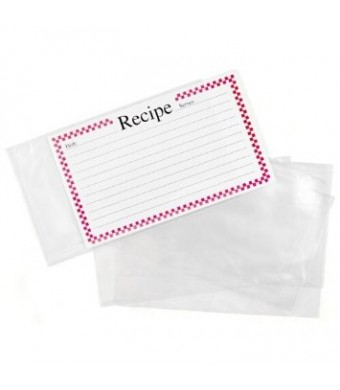 Clear Vinyl 3 x 5 Inch Recipe Card Covers, Set of 48