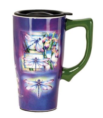 Spoontiques Dragonfly Travel Mug, Purple