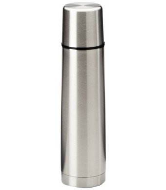 Isosteel VA-9555Q 17 fl. oz. Double Walled Slimline Vacuum Flask, Plastic Screw Stopper, Quickstop System for One Hand Use, Insulating Plastic Drinki