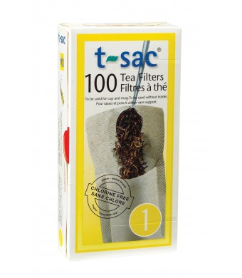 T-Sac Tea Filter Bags, Disposable Tea Infuser, Number 1-Size, 1-Cup Capacity, 100 Count