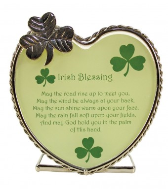 """Irish Candle Holder with Irish Blessing and Shamrocks. Gift for Any Occasion. Verse Reads """"May the Road Rise up to Meet You, May the Wind Be Always"""