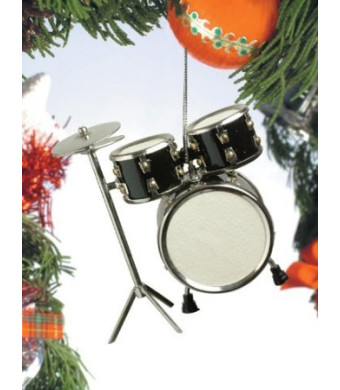 Black Drum Set Hanging Ornament Music Musical Instrument Ornament 3.5 inches