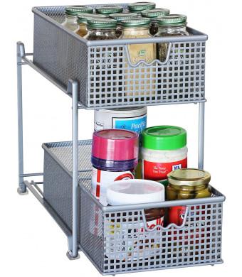 DecoBros Two Tier Mesh Sliding Cabinet Basket Organizer Drawer, Silver