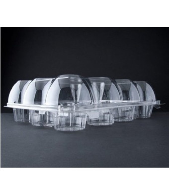 Oasis Supply 12-Compartment Hinged High Dome Clear Cupcake Container, Clear, 6-Pack