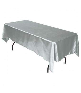 LinenTablecloth 60 x 102-Inch Rectangular Satin Tablecloth Silver