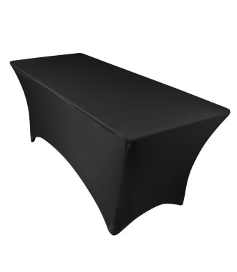 LinenTablecloth 6 ft. Rectangular Stretch Tablecloth Black