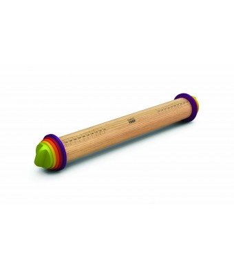 Joseph Joseph 16.5-Inch Adjustable Wood Rolling Pin, Multi-Color