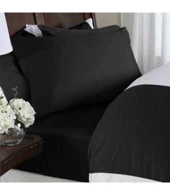 Elegant Comfort 4-Piece 1500 Thread Count Egyptian Quality Bed Sheet Sets with Deep Pockets, King, Black