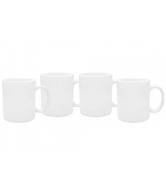 Culver 11-Ounce Hampton Ceramic Mug, White, Set of 4