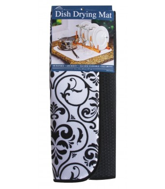 Envision Home Microfiber Dish Drying Mat, 16-Inch by 18-Inch, Black Damask