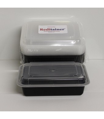 "Reditainer - Rectangular Food Storage Containers With Lids - Microwaveable and Dishwasher Safe (28 Ounce - 6""  x 8"" - Package of 12)"