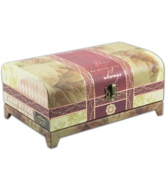 """Cottage Garden Belle Papier Vintage Rose Musical Jewelry Box Trunk with Mirror (Plays Music """"Wind Beneath My Wings"""" )"""