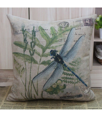 LINKWELL 45*45cm Retro Vintage Green Paris Country Dragonfly Linen Cushion Cover Postmark