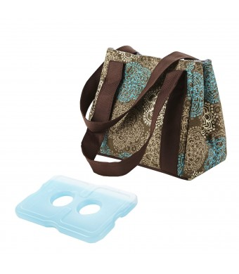 Fit and Fresh Ladies Venice Insulated Lunch bag with Ice Pack, Magnetic Closure, Teal Floral