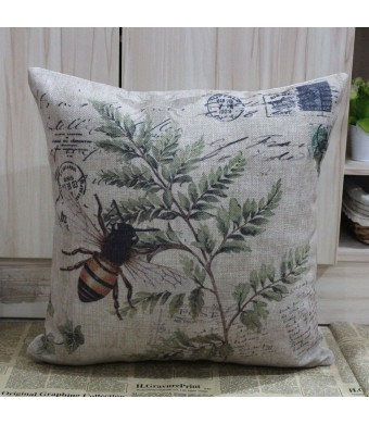 LINKWELL 45*45cm Retro Vintage Brown Paris Country Bee Leaf Linen Cushion Cover Postmark