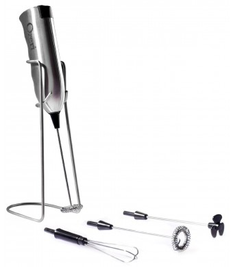 Ozeri Deluxe Milk Frother and Whisk in Stainless Steel with Stand and 4-Frothing Attachments