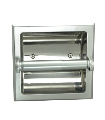 Designers Impressions Satin Nickel Recessed Toilet / Tissue Paper Holder All Metal Contruction - Mounting Bracket Included