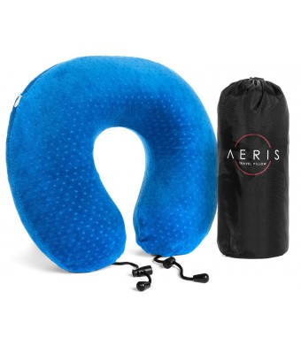 Travel Pillow - Aeris Best Airplane Pillow for Neck Support with a Portable Bag - Best Memory Foam Neck Pillow for Travel with a Luxury Blue Plush Ve