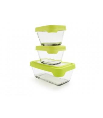 Anchor Hocking 6-Piece TrueSeal Food Storage Set with Green True Seal Airtight Lid, Set of 3