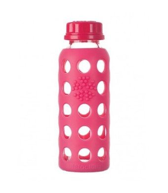 Lifefactory 9-Ounce Glass Bottle with Flat Cap and Silicone Sleeve, Raspberry