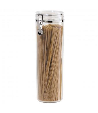 """Oggi Acrylic Airtight Pasta Canister with Clamp, 4"""" Dia. x 12"""" H."""