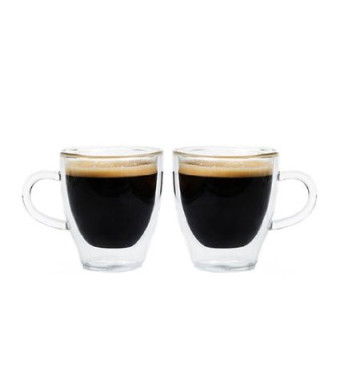 Grosche Turin Double Walled Glass Espresso Cup 70ml, 2.37 fl. oz, Set of 2