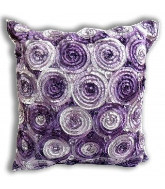 ''ENJOY SMILE ''(Single) Two Tone 3d Bouquet of Purple Roses Throw Cushion Cover/pillow Sham Handmade By Satin and Thai Silk for Decorative Sofa, Car