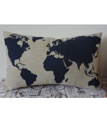"LINKWELL Burlap Linen Dark Blue World Map 20""  X 12""  Decorative Cushion Cover Pillow Case"