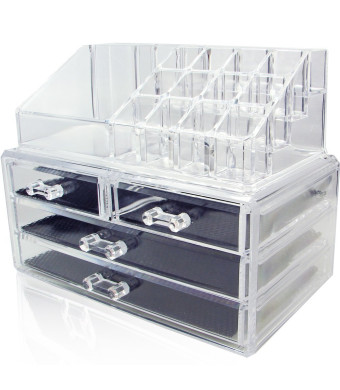 NILECORP Acrylic Jewelry and Cosmetic Storage Display Boxes Two Pieces Set.