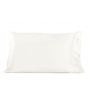 TexereSilk Solid Silk Pillowcase (Ultra White, King) Pillow Case Cover Great Birthday Present Anniversary Gift Holiday gift no more frizzy hair sleek