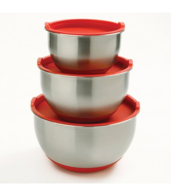 Norpro 10446 3-Piece Stainless Steel Grip Bowls with Lids