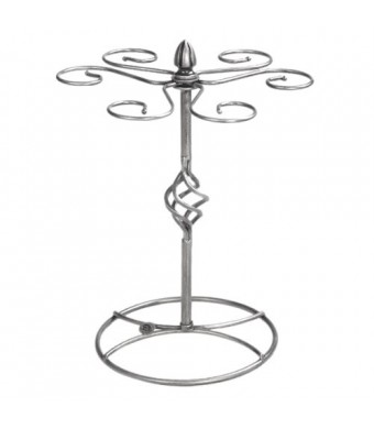 Classic Elegant Silver Metal Tabletop 6 Wine Glass Drying Rack Holder Display Stand / Air Dry System