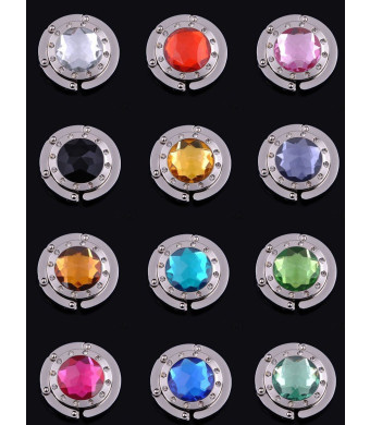 12pcs Colorful Diamond Folding Section Handbag Hook Hanger Holder