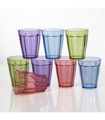 8pc Rhapsody 8-ounce Unbreakable Plastic Kids Juice Cup Tumblers in 4 Assorted Colors