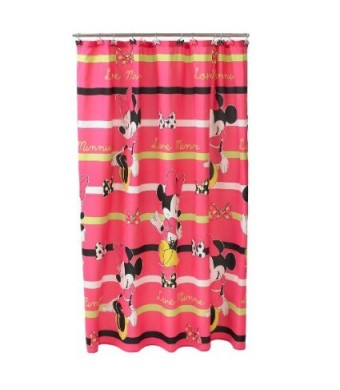 "Disney Minnie Mouse Neon Fabric Shower Curtain, 70""  X 72"""