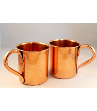 Set of 2 Copper Mugs for Moscow Mules - 15 oz size