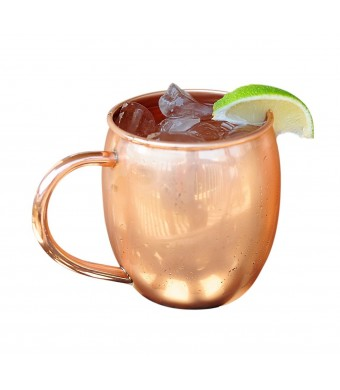 Copper Barrel Mug for Moscow Mules - 16 oz - 100% pure copper