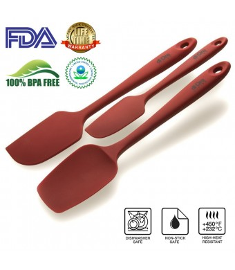 di Oro Living Silicone Spatula Set - 3-piece 450ºF Heat-Resistant Baking Spoon and Spatulas - Ergonomic Easy-to-Clean Seamless One-Piece Design - Pro