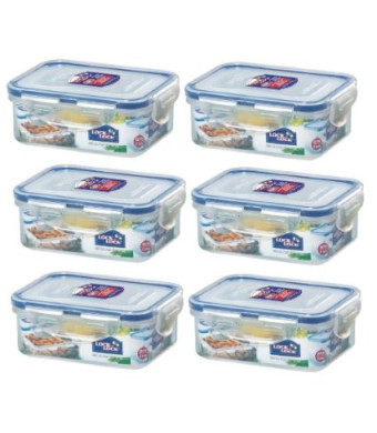 (Pack of 6) LockandLock Rectangular Food Container, Short, HPL806, 1-1/2-Cup, 11.8 Oz