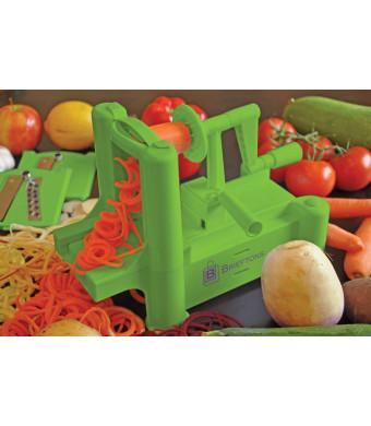 Brieftons Tri-Blade Spiralizer: Vegetable Spiral Slicer, Strongest-Heaviest, 100% Risk Free with Lifetime Guarantee, Best Veggie Pasta Spaghetti Make