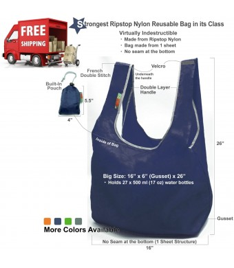 EcoJeannie Super Strong Ripstop Nylon Foldable Reusable Bag Grocery Shopping Tote Bag with Built-in Pouch, RB0004 (Navy)