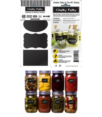 Chalky Talky Variety Mason Chalkboard Labels, 48 Reusable Labels For Jars - Erasable and Waterproof