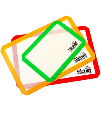 Silchef Silicone Baking Mat Set - 3 pieces - Professional Grade  Non-Stick - Heat Resistant Liners for Cookie Sheets.
