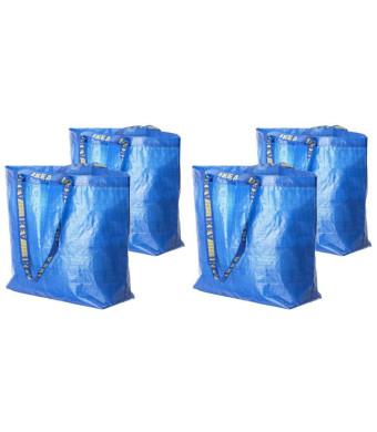 4 Ikea Frakta Shopping Bags 10 Gal Blue Tote Multi Purpose Durable Material