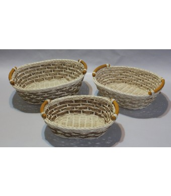 RT450110-3: Wicker/rattan Bread or Storage Curve Pole Handle Baskets in Cream and Sand
