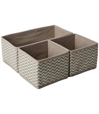 InterDesign Chevron Fabric Storage, Dresser Drawer Organizer -3 Piece Set, Taupe/Natural