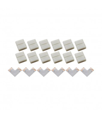 AspenTek 6pcs Packed 8mm Wide L-shape 90 Degree Right Angle Connector for 3528 Single Color Non-waterproof LED Flexible Strip Lights with 8mm Wide FP