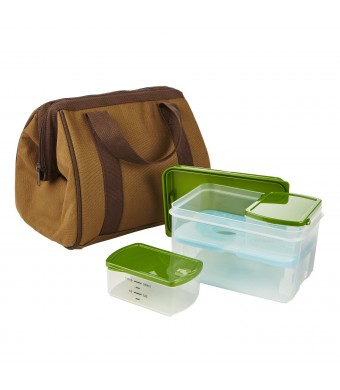 Fit and Fresh Men's Big Phil Lunch Bag Kit with Lunch on The Go Reusable Container Set, Brown